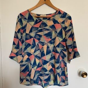 Everly Geometric Design Blouse size S